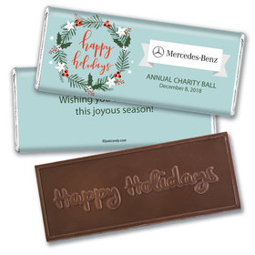 Personalized Happy Holidays Decorative Wreath Add Your Logo Embossed Chocolate Bar & Wrapper
