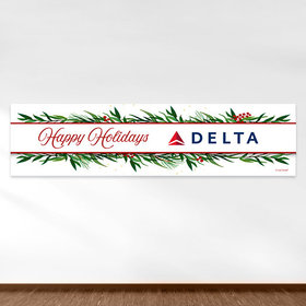 Personalized Christmas Winter Greenery Add Your Logo 5 Ft. Banner