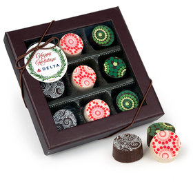 Personalized Christmas Winter Greenery Add Your Logo Gourmet Belgian Chocolate Truffle Gift Box (9 Truffles)