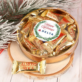 Personalized Winter Greenery Christmas Large Plastic Tin with Almond Roca (approx 12 pcs)