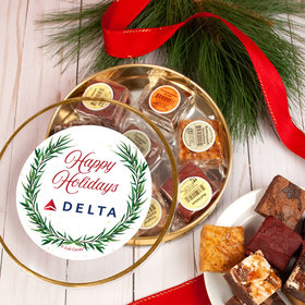 Personalized Happy Holidays Winter Greenery Add Your Logo Tin with Brownies (approx 8 pcs)