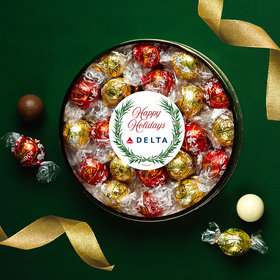 Personalized Happy Holidays Winter Greenery Large Plastic Tin with Lindt Truffles (24pcs)
