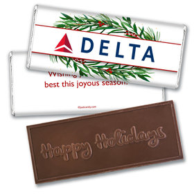 Personalized Christmas Winter Greenery with Logo Embossed Chocolate Bar & Wrapper