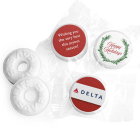 Personalized Life Savers Mints - Christmas Winter Greenery with Logo