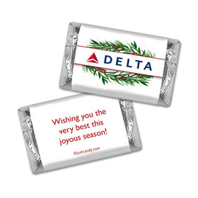 Personalized Christmas Winter Greenery with Logo Hershey's Miniatures Wrappers