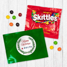 Personalized Christmas Happy Holidays Winter Greenery - Skittles