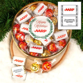 Personalized Add Your Logo Extra-Large Plastic Tin with Approx 1lb Personalized Hershey's Miniatures and Lindor Truffles by Lindt
