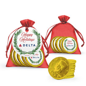 Bonnie Marcus Personalized Christmas Winter Greenery Add Your Logo Chocolate Coins in XS Organza Bags with Gift Tag