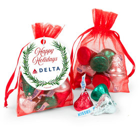 Personalized Christmas Winter Greenery Add Your Logo Hershey's Kisses in Organza Bags with Gift Tag
