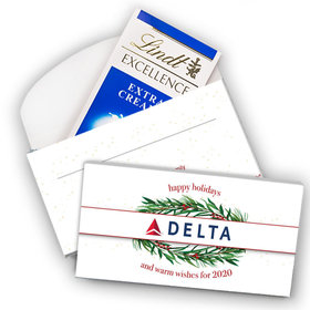 Deluxe Personalized Winter Greenery Add Your Logo Christmas Lindt Chocolate Bar in Gift Box (3.5oz)