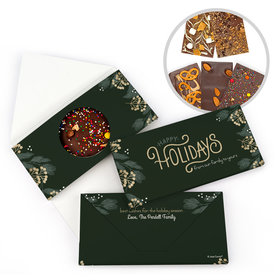 Personalized Christmas Holiday Greenery Gourmet Infused Belgian Chocolate Bars (3.5oz)