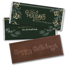 Personalized Christmas Holiday Greenery Embossed Chocolate Bar & Wrapper