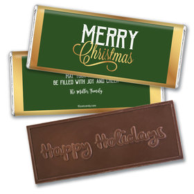 Personalized Golden Merry Christmas Embossed Chocolate Bar & Wrapper