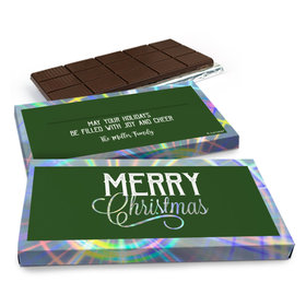 Deluxe Personalized Merry Christmas Chocolate Bar in Metallic Gift Box (3oz Bar)