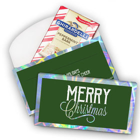 Deluxe Personalized Merry Christmas Ghirardelli Chocolate Bar in Metallic Gift Box