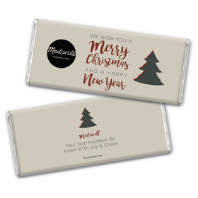 Personalized Christmas Rustic Trees with Logo Chocolate Bar & Wrapper