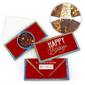 Personalized Modern Holidays Add Your Logo Metallic Gourmet Infused Chocolate Bars (3.5oz)