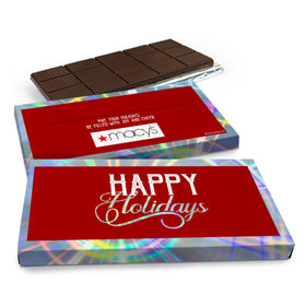 Deluxe Personalized Modern Holidays Add Your Logo Chocolate Bar in Metallic Gift Box (3oz Bar)