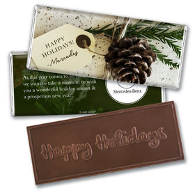 Personalized Christmas Corporate Gift Tag Embossed Chocolate Bar