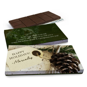 Deluxe Personalized Christmas Corporate Gift Tag Chocolate Bar in Gift Box (3oz Bar)