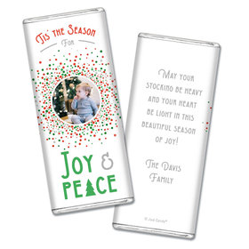 Personalized Christmas Confetti Chocolate Bar Wrappers Only