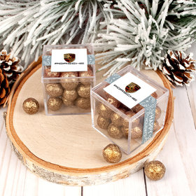 Personalized Christmas Wonderous Wishes Add Your Logo JUST CANDY® favor cube with Premium Sparkling Prosecco Cordials - Dark Chocolate