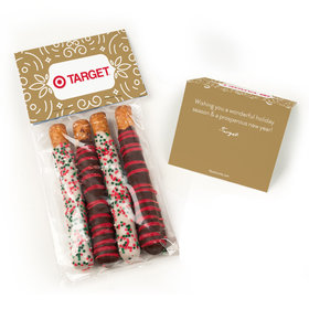 Personalized Happy Holidays Add Your Logo Belgian Chocolate Covered Pretzel Sticks (4pcs)