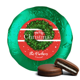 Personalized Christmas Snowy Wreath Chocolate Covered Oreos