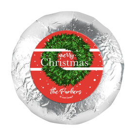 "Personalized Christmas Snowy Wreath 1.25"" Stickers (48 Stickers)"