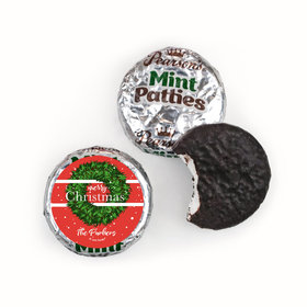 Personalized Christmas Snowy Wreath Pearson's Mint Patties