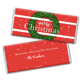 Personalized Christmas Snowy Wreath Chocolate Bars