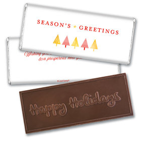 Personalized Christmas Festive Greetings Embossed Chocolate Bar