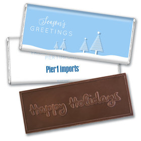Personalized Christmas Frosty Pines Embossed Chocolate Bar