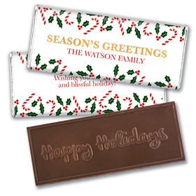 Personalized Christmas Candy Cane Poinsettia Embossed Chocolate Bar