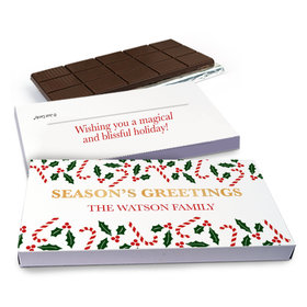 Deluxe Personalized Christmas Candy Cane Poinsettia Chocolate Bar in Gift Box (3oz Bar)