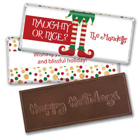 Personalized Christmas Naughty or Nice Embossed Chocolate Bar