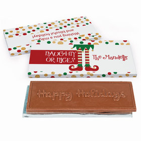 Deluxe Personalized Christmas Naughty or Nice Embossed Happy Holidays Chocolate Bar in Gift Box