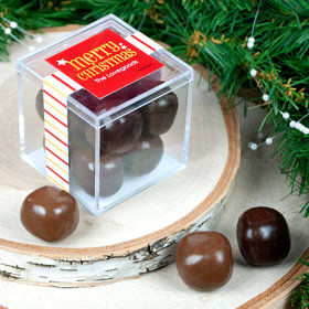 Personalized Shimmering Christmas JUST CANDY® favor cube with Premium Milk & Dark Chocolate Sea Salt Caramels