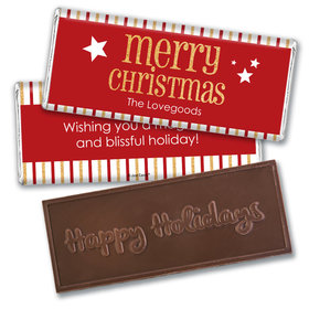 Personalized Shimmering Christmas Embossed Chocolate Bar