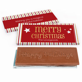 Deluxe Personalized Shimmering Christmas Embossed Happy Holidays Chocolate Bar in Gift Box
