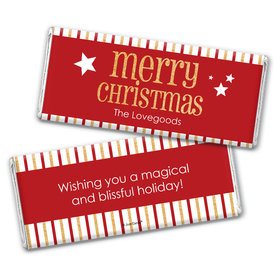 Personalized Shimmering Christmas Chocolate Bar Wrappers Only