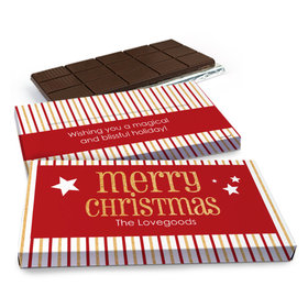 Deluxe Personalized Shimmering Christmas Chocolate Bar in Gift Box (3oz Bar)