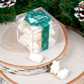 Personalized Oh Christmas Tree JUST CANDY® favor cube with Gummy Bears