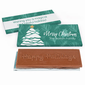 Deluxe Personalized Oh Christmas Tree Embossed Happy Holidays Chocolate Bar in Gift Box