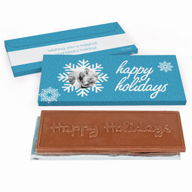 Deluxe Personalized Christmas Wintry Wishes Embossed Happy Holidays Chocolate Bar in Gift Box
