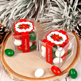 Personalized Christmas Holiday Poinsettia JUST CANDY® favor cube with Jordan Almonds