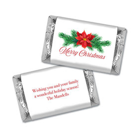 Personalized Holiday Poinsettia Hershey's Miniatures Wrappers