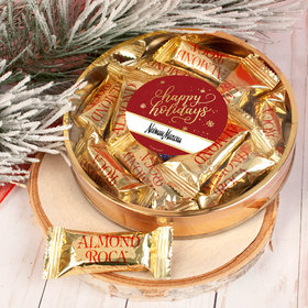 Personalized Happy Holidays Snowflakes Large Plastic Tin with Almond Roca (approx 12 pcs)