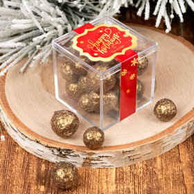 Personalized Happy Holidays JUST CANDY® favor cube with Premium Sparkling Prosecco Cordials - Dark Chocolate