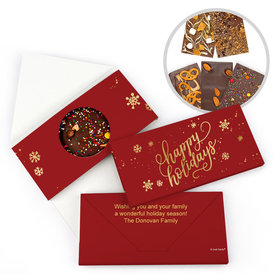 Personalized Happy Holidays Gourmet Infused Belgian Chocolate Bars (3.5oz)